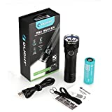 Olight R50 Seeker Rechargeable Tactical Flashlight Cree XLamp XHP50 2500 Lumens Hunting Light Powered by 26650 4500mAh lithium-ion Battery - Silver Bezel ( Stainless Steel )
