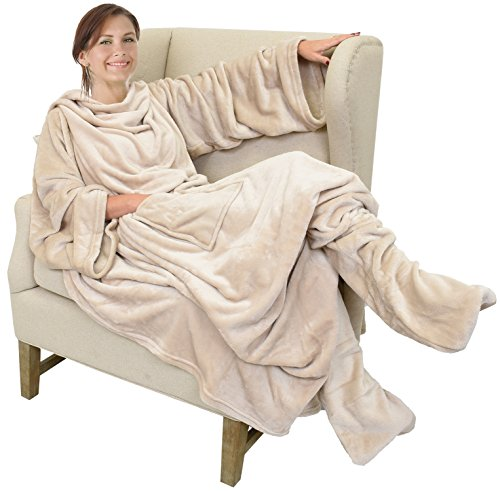"""Catalonia Wearable Fleece Blanket with Sleeves & Foot Pockets for Adult Women Men, Micro Plush Comfy Wrap Sleeved Throw Blanket Robe Large 75"""" x (Head Throw Blanket)"""