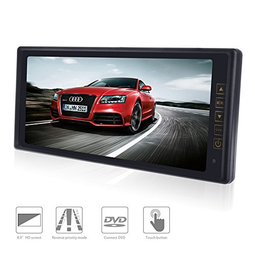 Rear View Mirror Monitor 8.9-Inch TFT-LED High Resolution Display Screen for DVD/VCR/ Car Parking Reverse System 2 Ways Video Inputs Car LCD Digital Monitor 12V / 5 W - - Mirror Rear View Display