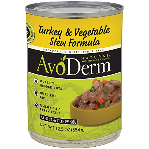 AvoDerm Natural Grain Free Turkey & Vegetable Stew Recipe Canned Wet Dog Food, 12.5-ounce cans, Case of - Breeders Choice Formula