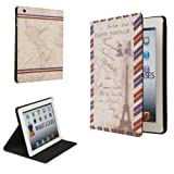 Cooper Cases Posta Apple iPad 2/3/4 Leather Folio Case Eiffel Tower Paris (Easy Snap-in Shell, Soft Lining, Auto Sleep/Wake, Multiple Angle Stand)