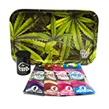 Bundle - 6 Items Be Lit Leafy Rolling Tray with (4) Assorted Twisted Hemp Wraps All Natural