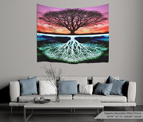 XINYI Home Wall Hanging Nature Art Polyester Fabric Tree Theme Tapestry, Wall Decor For Dorm Room, Bedroom, Living Room, Nail Included - 60
