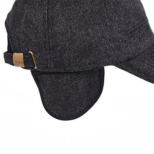 YAKER Men's Winter Warm Woolen Peaked Baseball Cap Hat Earmuffs Metal Buckle (Black) by YAKER (Image #1)