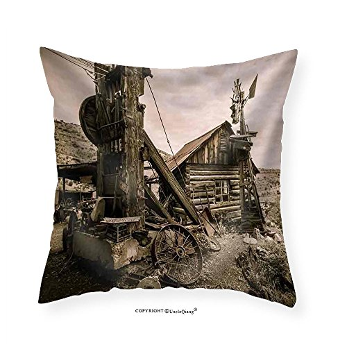 VROSELV Custom Cotton Linen Pillowcase Jerome Arizona Ghost Town Mine Windmill and Old Block House - Fabric Home Decor - Arizona Mills Directions