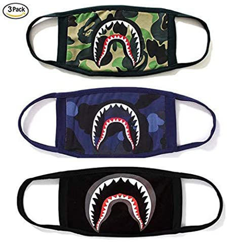 Ayo and Teo Face Mask Panda Mask for Kids Ape Camo Mask in Black & Red for  Adults Shark Mouth Teeth Unisex Mask Pack of 3