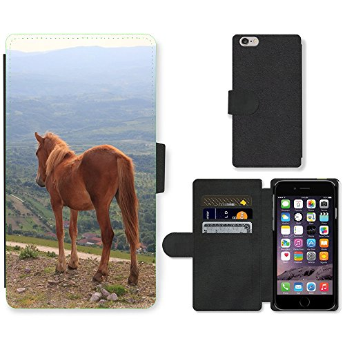 Just Phone Cases PU Leather Flip Custodia Protettiva Case Cover per // M00129045 Troupeau Chevaux Paysage Montagnes // Apple iPhone 6 PLUS 5.5""