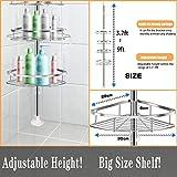 Bathroom Shelf, Rosefray Tension Shower Pole Corner Caddy, Rustproof 304 Stainless Steel, 4 Tier Adjustable Baskets, Height Adjustable 3.8 to 8.9ft