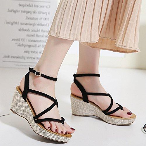 black Sandali Scarpe Donna Roma Con Women'S Cunei Shoes Tacco Cinturino Scarpe Donna Scarpe GTVERNH Il xB46wqpx