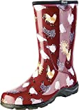 Sloggers Women's Waterproof Rain and Garden Boot with Comfort Insole, Chickens Barn Red, Size 9, Style 5016CBR09