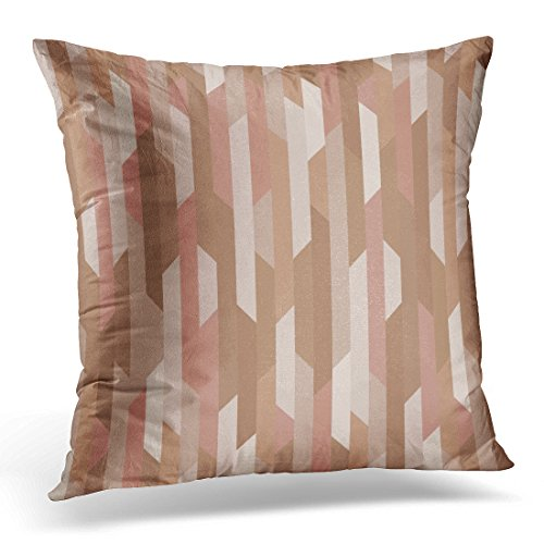 Coral Colored Rose (Sdamase Throw Pillow Cover Gold Colored Pattern Geometric Shapes Rose Decorative Pillow Case Home Decor Square 18