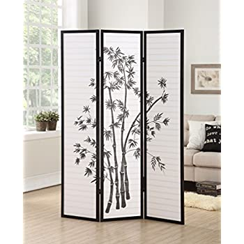 Marvelous Roundhill Furniture 3 Panel Oriental Shoji Room Divider Screen, Black