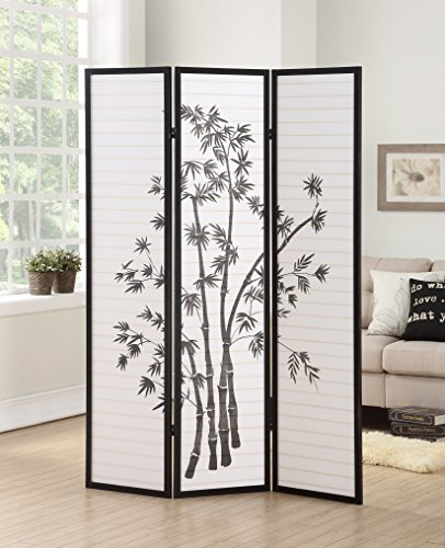 Roundhill Furniture 3-Panel Oriental Shoji Room Divider Screen, Black 3 Panel Black Room Divider
