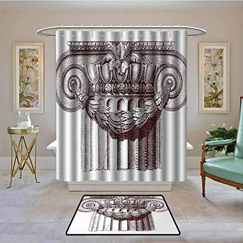 Kenneth Camilla01 Waterproof Shower Curtain Ancient,Classical Antique Column Roman Empire Architecture Heritage Culture Print,Burgundy and White,Bathroom Curtains for Shower with Hooks Set 72