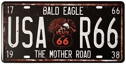 (VintageBee Retro Sign Wall Metal Home Pub Bar Poster Metal Vintage Plate Number American Dream The Mother Road Route66 Bald Eagle California 6'' X 12'' k240)