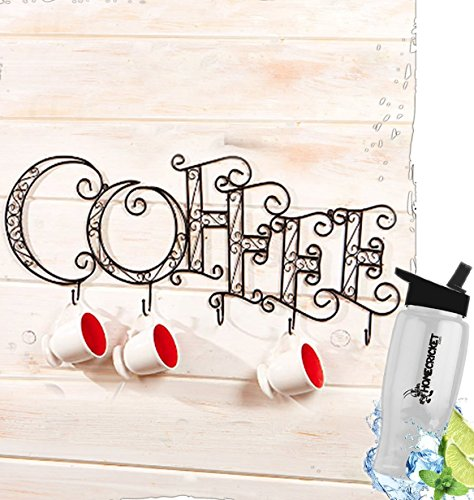 (Gift Included- Kitchen Wall Mounted Coffee Mug Cup Rack Decorative Display Accent+ FREE Bonus Water Bottle by Home Cricket Homecricket)