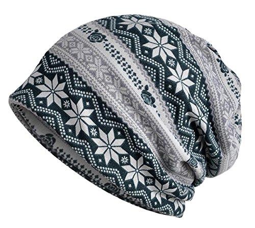Otoño Para Sombrero Verde Patrón e Talla Copos Invierno Feoya Gorro Nieve Regalo Única Oscuro 4 colores Beanie Slouchy de TqXwREY