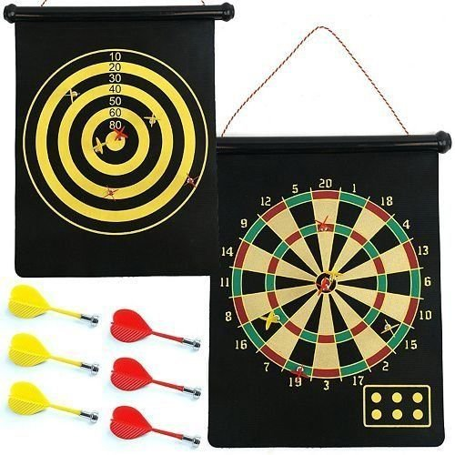 Nantucket Home 2-in-1 Magnetic Roll-up Dart Board and Bullseye Game with 6 Darts by Nantucket Home