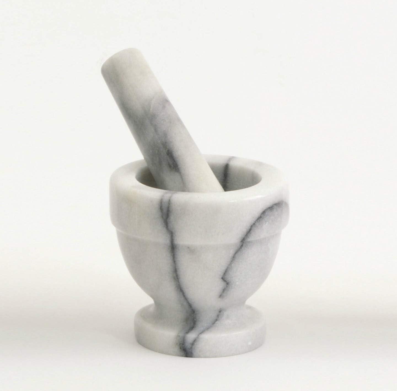 Mortaio in Marmo Bianco con Pestello Vase White Marble Mortar Pestle 8x8cm
