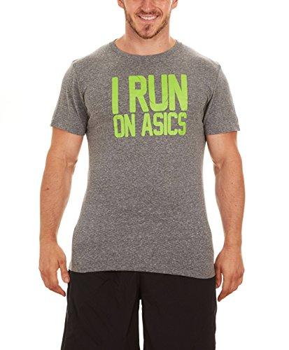 ASICS Men's I Run On Short-Sleeve T-Shirt (Large, Grey/Green)