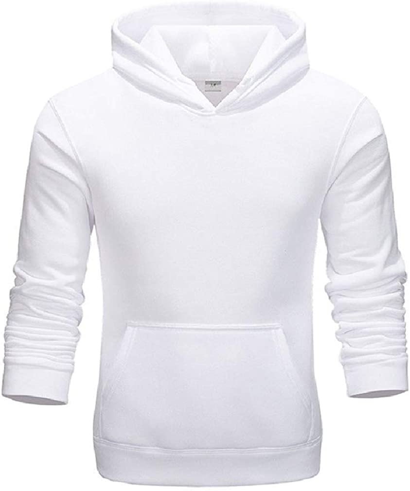 Vska Mens Pure Long Sleeve College Style Cargo Pocket Hoodie Sweatshirts