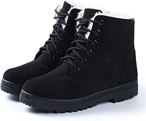 NOT100 Womens Winter Fur Snow Boots Warm Sneakers Black