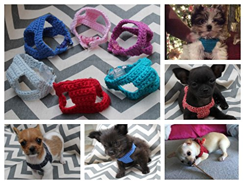 Teeny Tiny Handmade Cotton Crochet Dog/Puppy/Kitten First Harness, 1 - 2 lb 6 to 10 Inch Girth for Chihuahua Yorkie Maltese Toy Teacup Puppy Pig (Teacup Pup Yorkie)