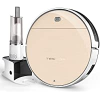 Robot Vacuum Cleaner, Tesvor Robotic Vacuum Cleaner with Plan Cleaning Tech, Strong Suction and HEPA Filter for Thin Carpet, Hard Floor and Pet Hair, Self-charging and Extra Handheld Vacuum Cleaner