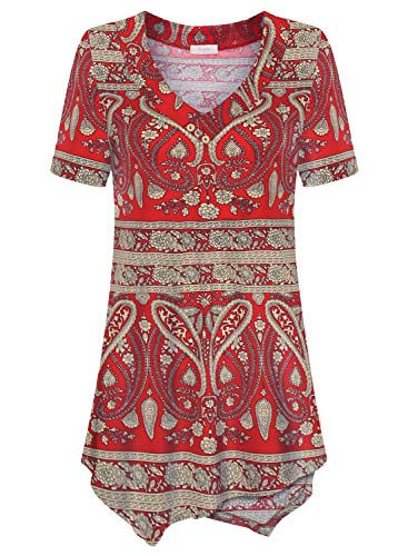 (Women's Casual Tunic Tops, Paisley Print Short Sleeve V Neck Flowy Shirt for Leggings)