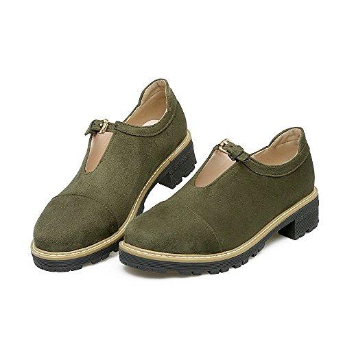 Court VogueZone009 Pu Soild Low Green Closed Women's Shoes Heels Toe Buckle nqwgq7C8xA