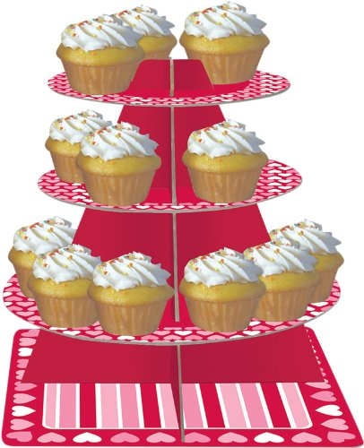 Creative Converting Tiered Snack and Cupcake Server, Hearts