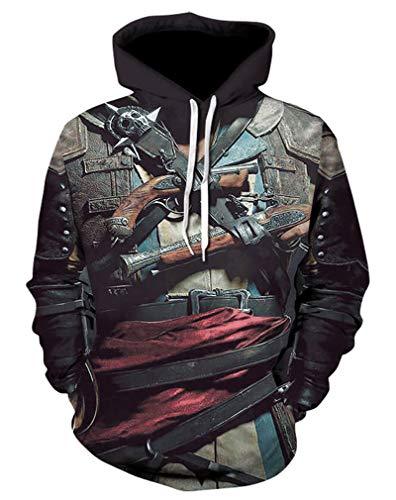 Doxi Edward Kenway Hoodie Printed 3D Hooded Sweatshirts Skull Hipster T Shirt