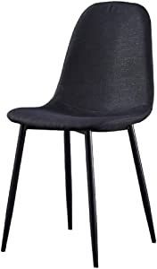 YB&GQ Set of 2 Dining Chair for Kitchen,mid Century Modern Eames Chairs with Back,Linen Fabric Upholstered Side Chair for Living Outdoor Black 44x39x84cm(17x15x33inch)