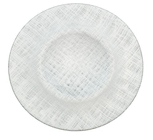 Glass Charger 13 Inch Dinner Plate With Cross-stitch Pattern - Set of 4 - Silver