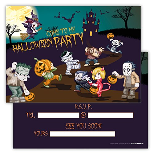 Spooky Halloween Party Invitations Pack of 12 Cards for Boys Girls Kids Birthday Character Emoji Postcard Invitations Greetings fill-in (First Birthday Halloween Party Invitations)