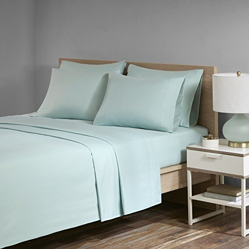 Ultra Soft Cozy - Durable - Microfiber Plush Twill - Velvet Feel - Deluxe Sheet Set With Deep Pocket - 6 Piece - Queen - Seafoam - 1 Flat Sheet, 1 Fitted Sheet and 4 Pillow Cases - Comfort Spaces