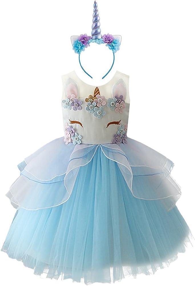 FYMNSI Vestido de Unicornio Niña Tutu Princesa Flor Carnaval ...