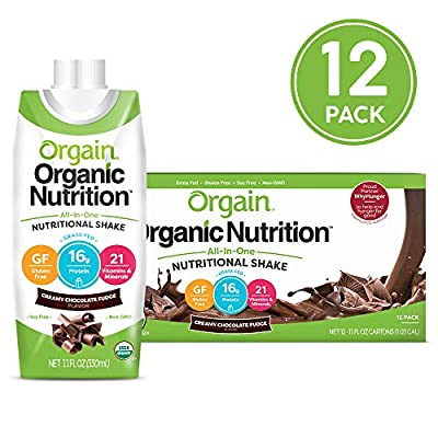 Orgain Organic Iced Cafe Mocha Nutrition Shakes are a naturally delicious on-the-go nourishment drink with 16 grams of organic protein, 21 vitamins and minerals and 10 fruits and vegetables per serving. USDA organic, gluten free, vegetarian, non-GMO,...