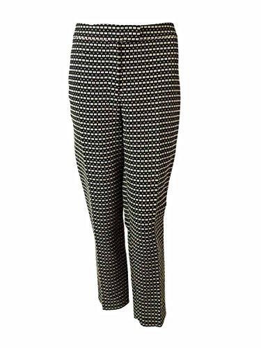 Anne Klein Women's Slim Leg Ribbon Stitch Dress Pants (10, Black/Beige)