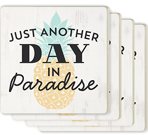 Coasters Pineapple - Just Another Day in Paradise Pineapple White 4 x 4 Ceramic Coaster 4 Pack