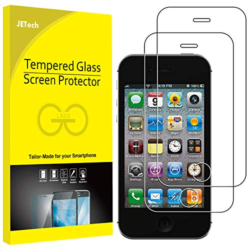 JETech 2-Pack Screen Protector for Apple iPhone 4 and iPhone 4s, Tempered Glass Film (Best Os For Iphone 4s)