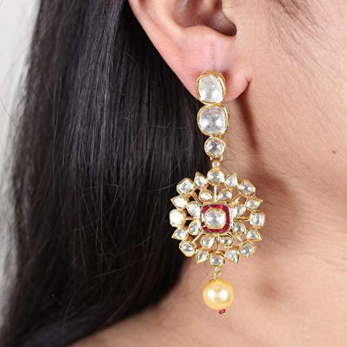 Solid 22K Yellow Gold Natural 4.51 Ct. Polki Diamond Pearl Ruby Foral Designer Kundan Meena Earrings Handmade Vintage Style Jewelry ()