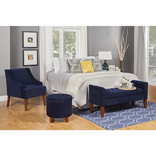 Navy Swoop Velvet Cushioned Living Room Accent Arm Chair w/ Wooden Legs