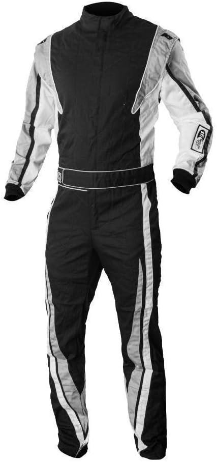 K1 Race Gear SFI 3.2a//1 Victory Auto Racing Suit Black//White//Grey, Medium