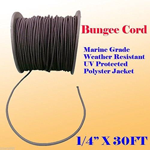 "1/4"" X 30 Ft (10 Yard) Premium Marine Grade Bungee Shock Stretch Cord Uv Black"