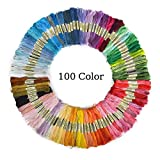 Aerfas 100 Skeins Per Pack of 8M 100-Color Cross Stitch Embroidery Threads Floss Sewing Art Craft