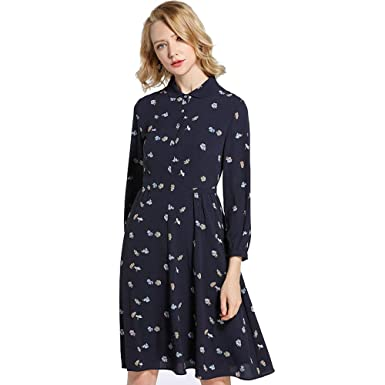 44b84618652 Women Dresses Long Sleeve Print Pattern Tunic Lapel Button Down Tops Shirt  Casual Dress Navy Blue