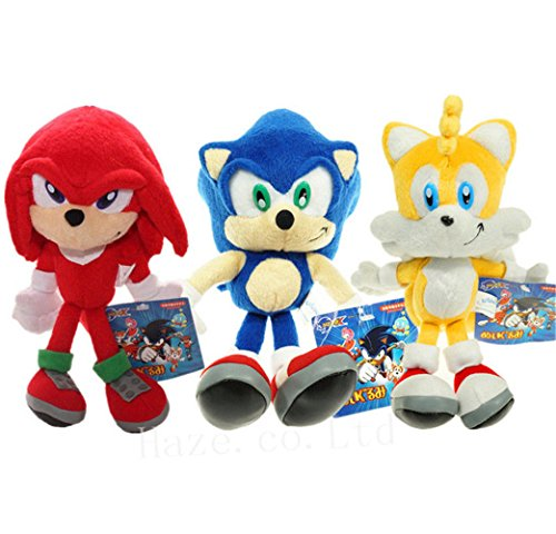 Set of 3 Sonic The Hedgehog Sonic Knuckles Tails Stuffed Plush Doll Toy 8 inch ()