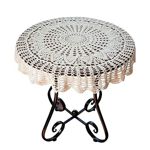 God of Fortune Handcraft Round Tablecloth Crochet Tablecloths Beige White Table Cloth Wedding Decorative Table Cover 2019,Beige,90cm Round
