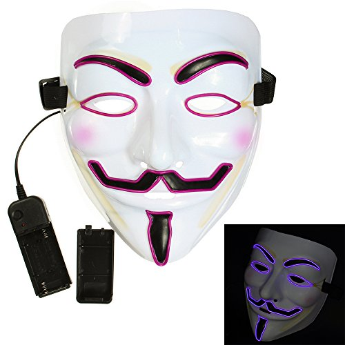 Bonamana Cool V for Vendetta Guy Fawkes Mask LED Light Up Mask Costume EL Wire Halloween Mask